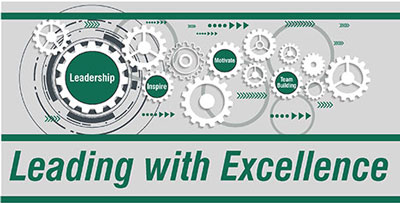 leading with excellence graphic with gears