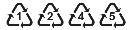 Recycling Icons 1, 2, 4, and 5