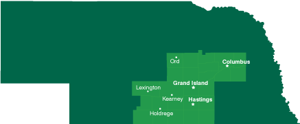 Map of Nebraska with CCC service area outlined and locations marked: Ord, Columbus, Lexington, Grand Island, Kearney, Hastings, Holdrege