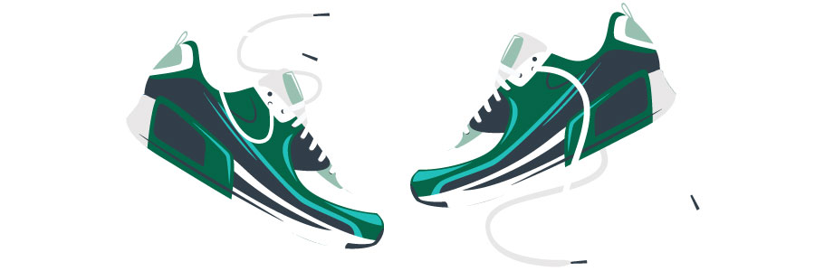 Cartoon of two athletic style tennis shoes.