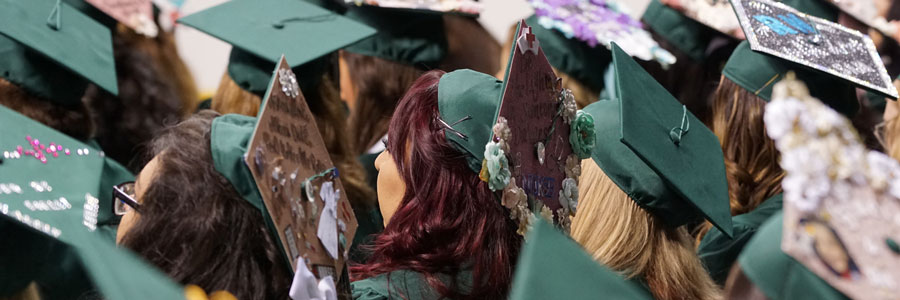 Several graduates sit facing away from the camera with graduation caps and gowns at graduation ceremony.