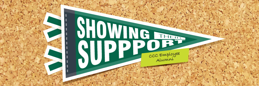 "Cartoon rendering of cork board with pennant on top. Text reading ""Showing Their Support"" is printed on pennet. Note is on the top layer with text that reads ""CCC Employee Alumni."""