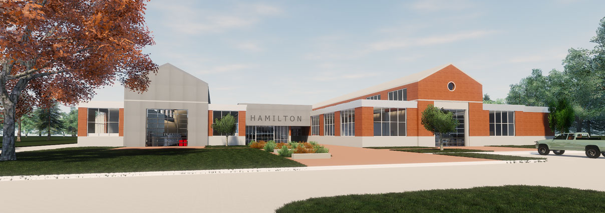 Artist rendition of remodel of the Hamilton Building.