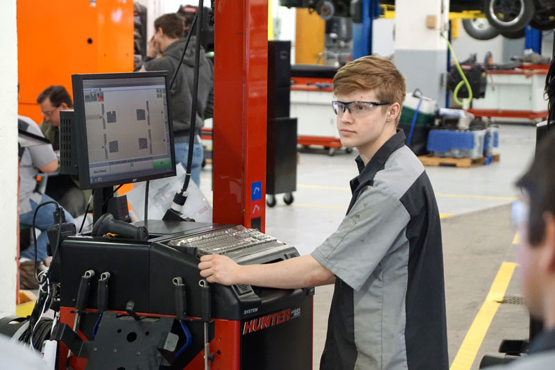 Automotive Technology student working in the shop