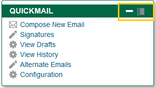 Screenshot of Quickmail Block with Dock Icon Circled