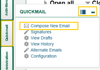 Screenshot of docked Block Flyout for QuickMail with Compose New Email Circled